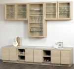 Wall hung units from left to right: UDGL, TG22 + Extra Shelf, UDGL.  Base units: CH22, EH11, CH22, EH11, CH22 + BT88